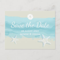 Starfish, aqua watercolor beach /save the date announcement postcard