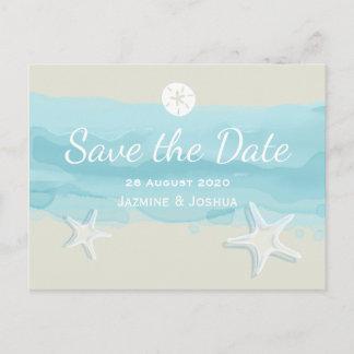 Starfish, aqua watercolor beach /save the date announcement postcard