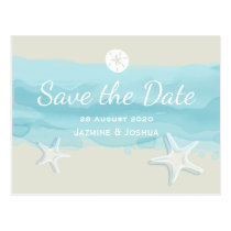 Starfish, aqua watercolor beach /save the date postcard