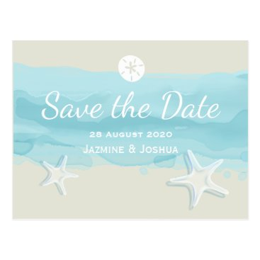 weddingbouquet Starfish, aqua watercolor beach /save the date postcard