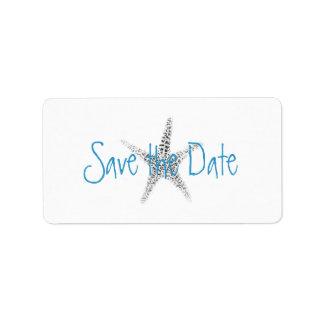 Starfish (B&W) Save the Date Label Address Label