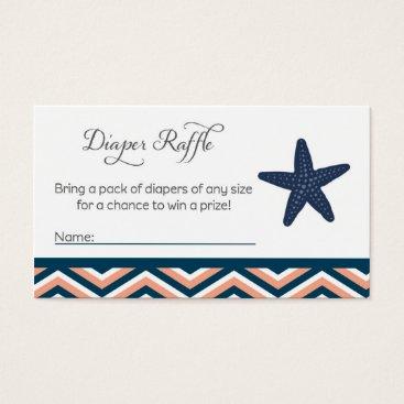 Beach Themed Starfish Baby Shower Diaper Raffle Tickets