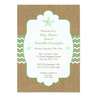 Starfish baby shower invites sea green burlap