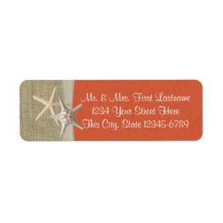 Starfish Beach and Burlap Coral Return Address Label