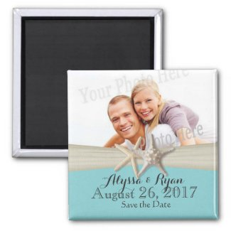Starfish Beach Aqua Blue Save the Date Photo Magnet