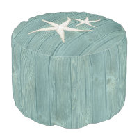 Starfish Beach Aqua Wood Pouf Seat
