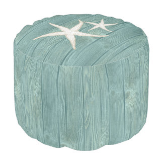 Starfish Beach Aqua Wood Pouf Seat