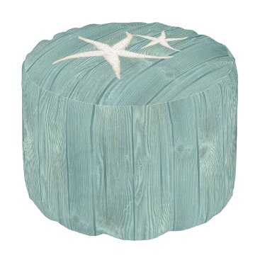 Beach Themed Starfish Beach Aqua Wood Pouf Seat
