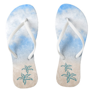 Starfish Beach Blue Flip Flops