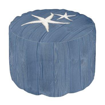 Beach Themed Starfish Beach Blue Wood Pouf Seat