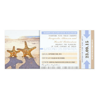 "starfish beach boarding pass wedding invitations 4"" x 9.25"" invitation card"