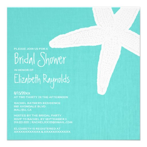 Starfish Beach Bridal Shower Invitations Personalized Announcements