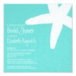 """Starfish Beach Bridal Shower Invitations 5.25"""" Square Invitation Card"""
