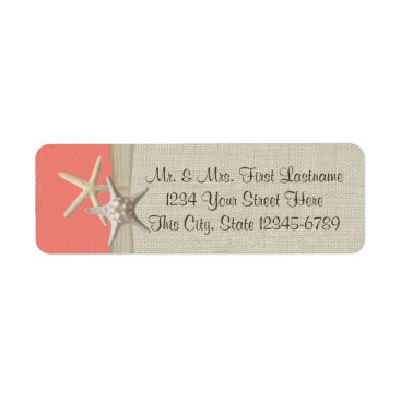 Beach Themed Starfish Beach Coral Label