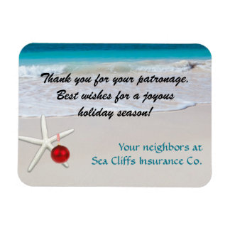 Starfish Beach Corporate Holiday Message Rectangular Photo Magnet