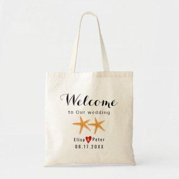 Beach Themed Starfish beach destination wedding script welcome tote bag