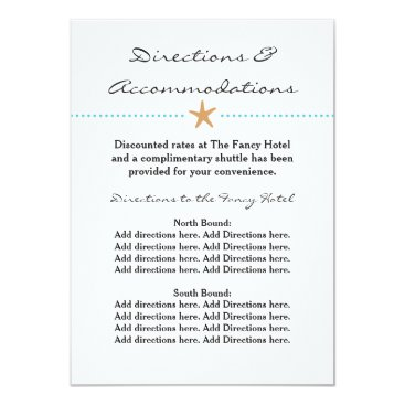 Beach Themed Starfish Beach - Direction & Accommodation Card