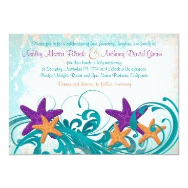 Beach Themed Starfish Beach or Destination Wedding Invitation 2