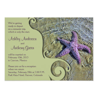 Starfish Beach Post Wedding Reception Only 5x7 Paper Invitation Card