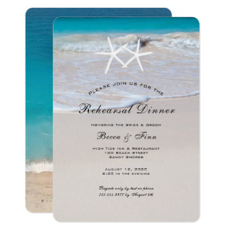 Starfish Beach Sand Rehearsal Dinner Invitation