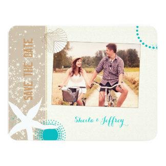 Starfish + Beach Sand Wedding Photo Save the Date Card