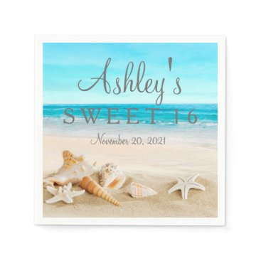 Beach Themed Starfish Beach Sweet 16 Personalized Napkin
