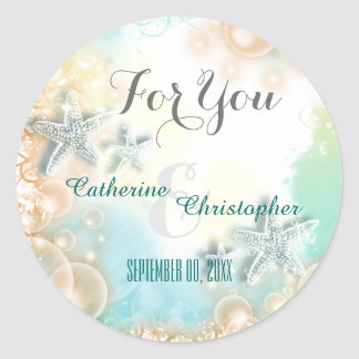 "Starfish beach theme wedding favor ""For you"" Classic Round Sticker"
