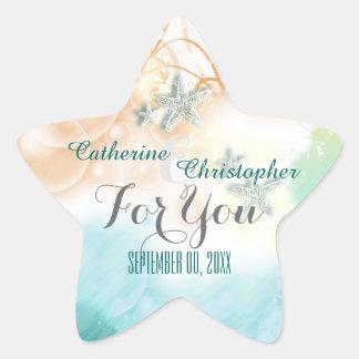"Starfish beach theme wedding favor ""For you"" Star Sticker"