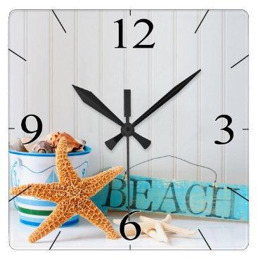 Beach Themed Starfish Beach Tropical Summer Square Wall Clock