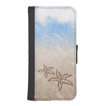 Beach Themed Starfish Beach Wallet Phone Case For iPhone SE/5/5s