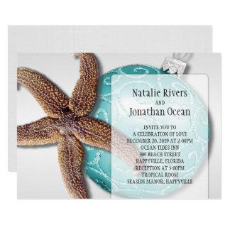 Starfish Beach Wedding Christmas Time Invitation