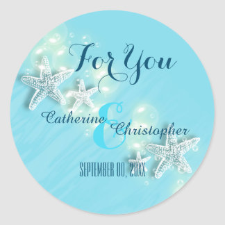Starfish beach wedding classic round sticker