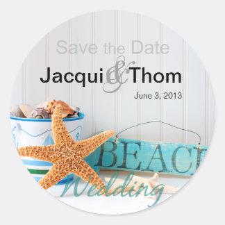 Starfish Beach Wedding Classic Round Sticker