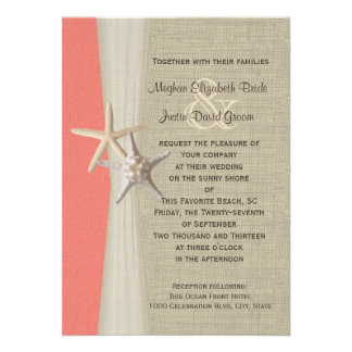 Starfish Beach Wedding Coral Shell Invite