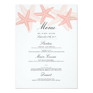Starfish Beach Wedding Dinner Menu Peach Card