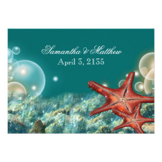 Starfish beach wedding engagement anniversary personalized invitation