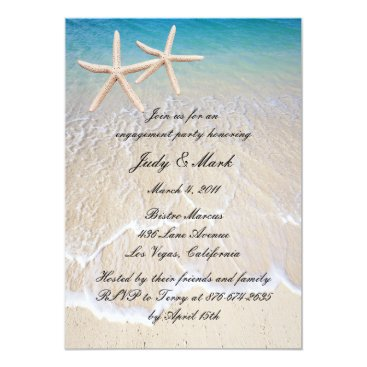 atteestude Starfish Beach Wedding Engagement Party Invitation