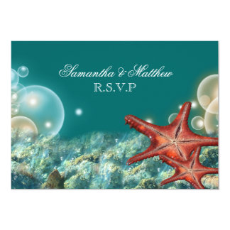 Starfish beach wedding engagement RSVP 5x7 Paper Invitation Card