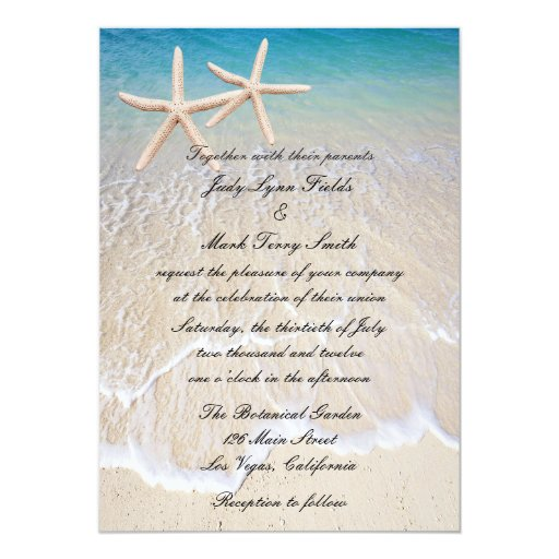 Starfish Beach Wedding Invitation