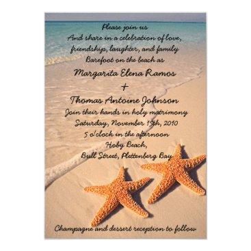 Beach Themed Starfish Beach Wedding Invitation or announcement