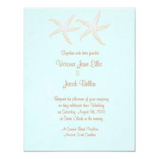 starfish beach wedding invitation - pale blue