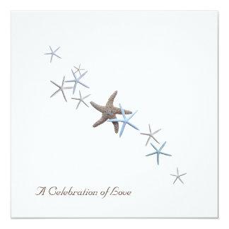 "Starfish Beach Wedding Invitations 5.25"" Square Invitation Card"