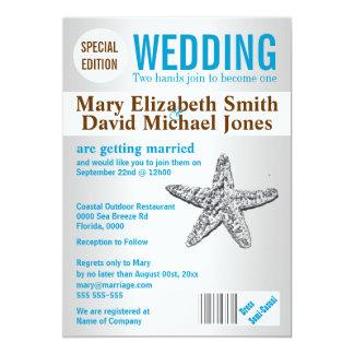 Starfish beach wedding magazine PERSONALIZE Card