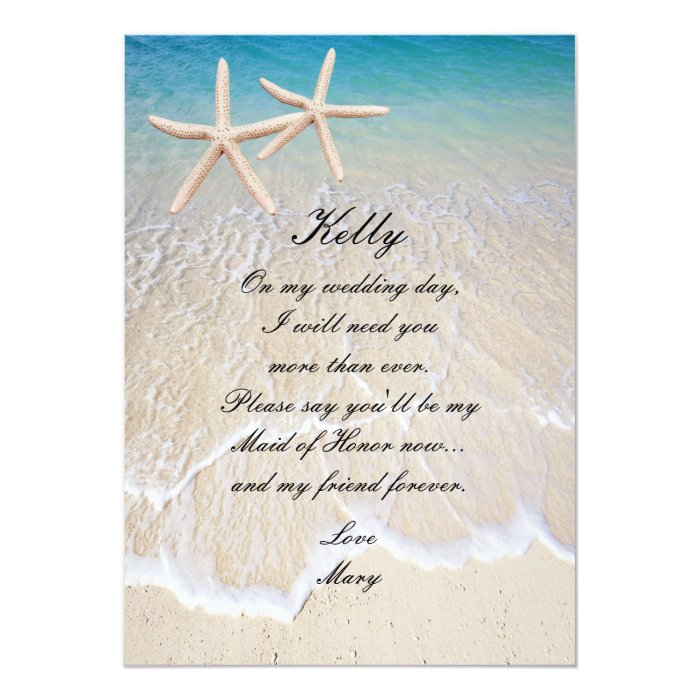1 Year Wedding Anniversary Gift From Maid Of Honor : Starfish Beach Wedding Maid Of Honor Card Zazzle