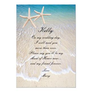 Starfish Beach Wedding Maid Of Honor Card