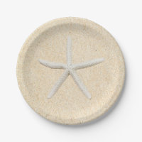 Starfish Beach Wedding Paper Plate
