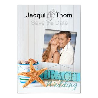 Starfish Beach Wedding Photo Save the Date Card