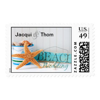 Starfish Beach Wedding Postage Stamps
