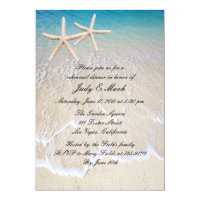 Starfish Beach Wedding Rehearsal Dinner Invitation