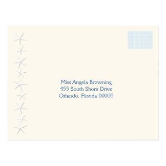 Starfish Beach Wedding Return Address Postcard